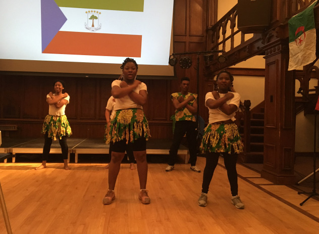 African Dance Club performing the closing dance to the African Cultural Night. Photo by Alex Appel.