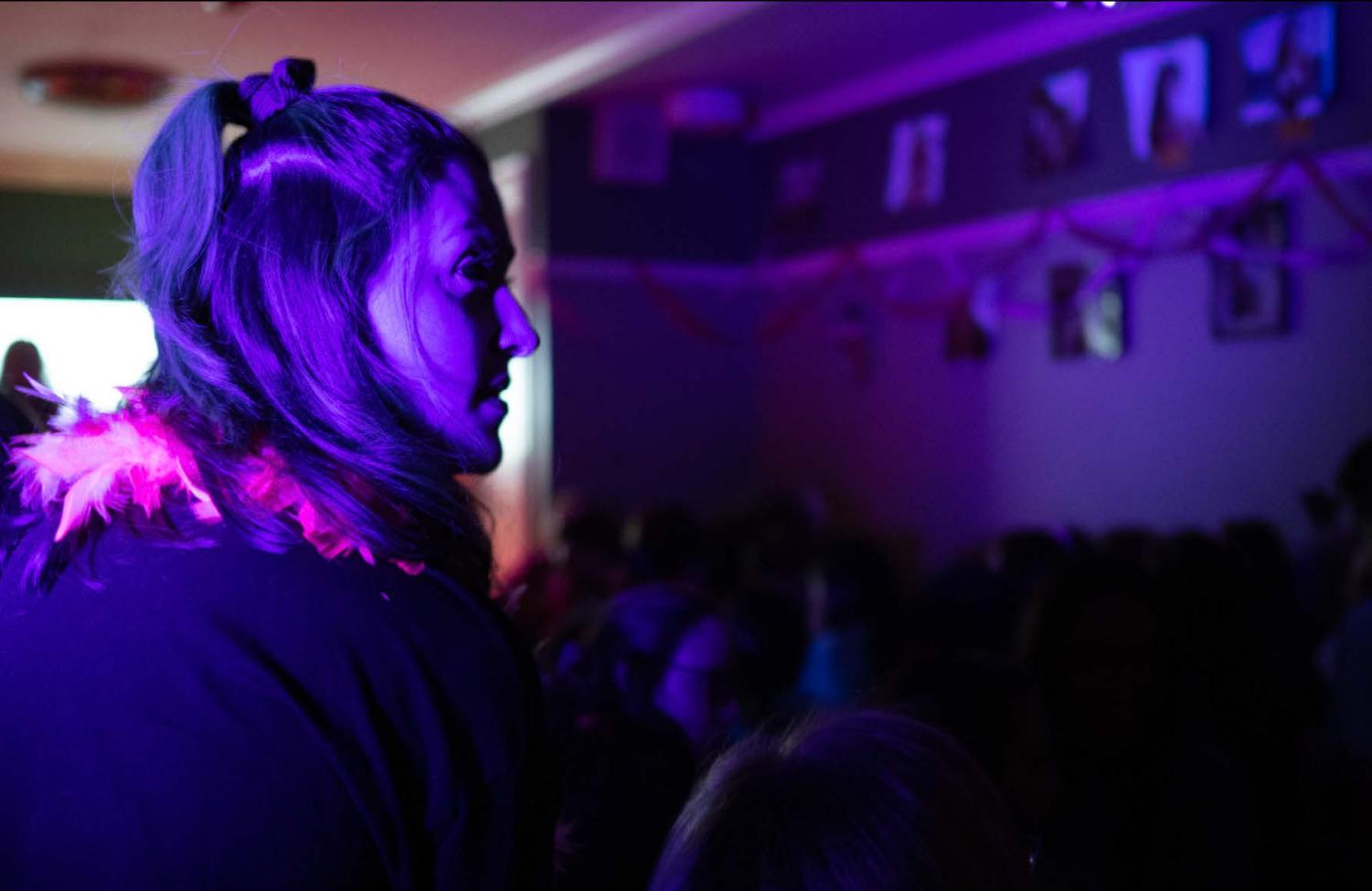 Mandy Blakeman '22 and others attending Erotica night on Saturday. Photo by Ian Plummer.