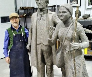 Statue of William Seward and Harriet Tubman currently being rebuilt