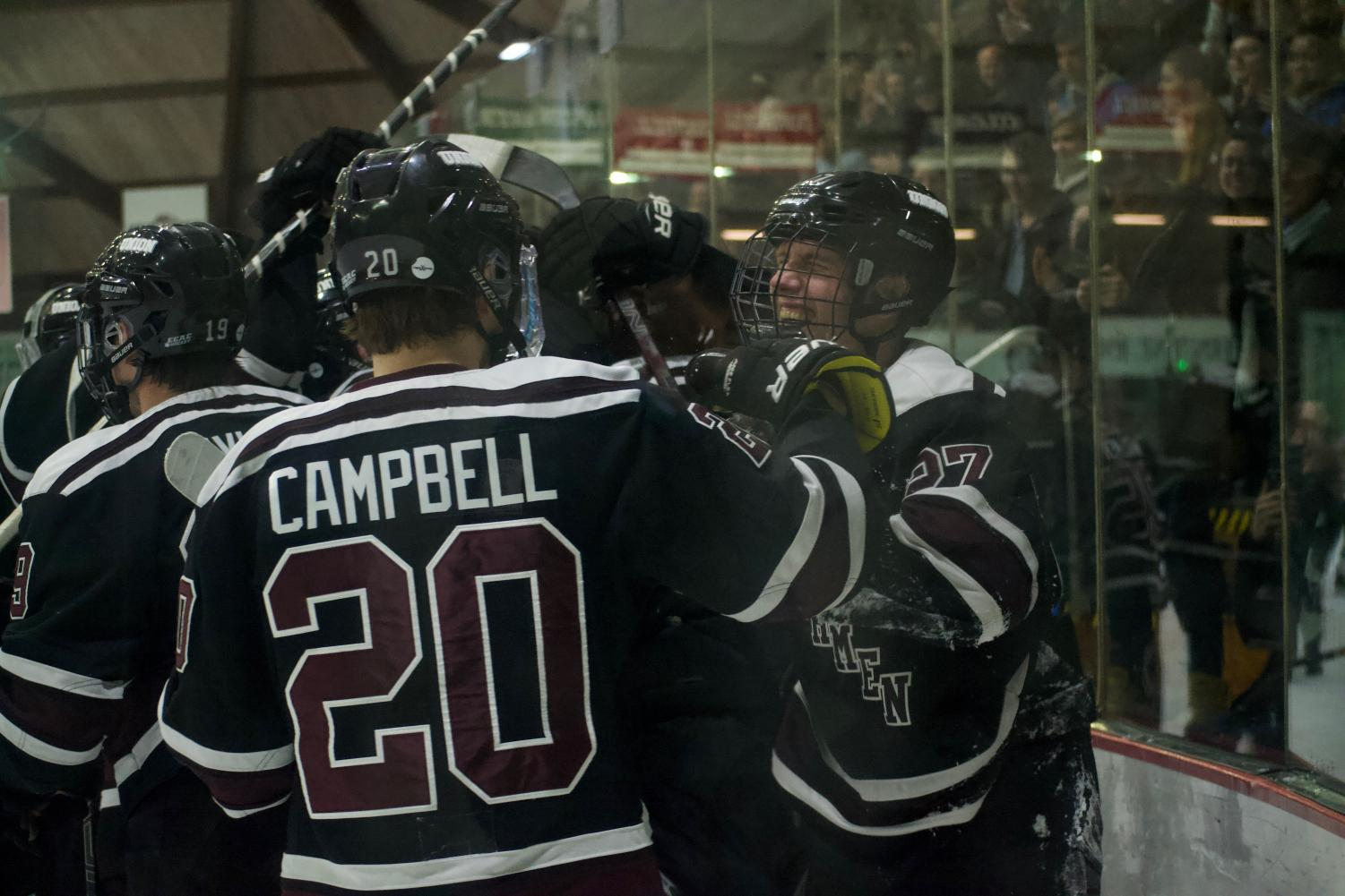 Union Men's Hockey team celebrating win against Yale on Friday. Photos by Joe Maher.