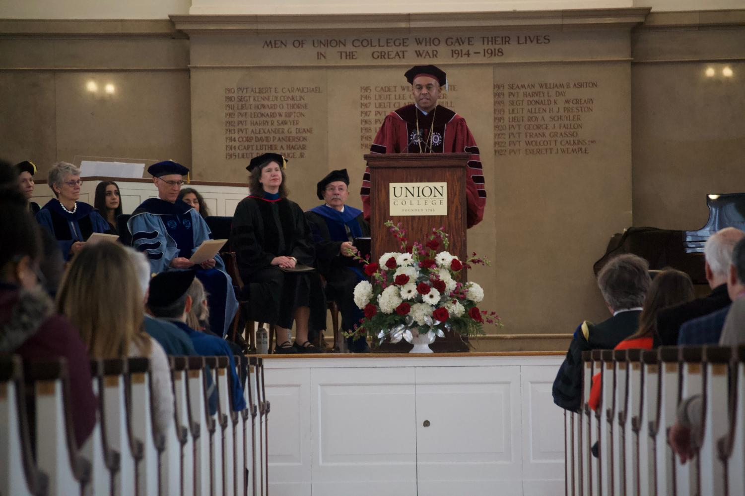 President Harris speaking at the Founder's Day Ceremony. Photo by Joe Maher.