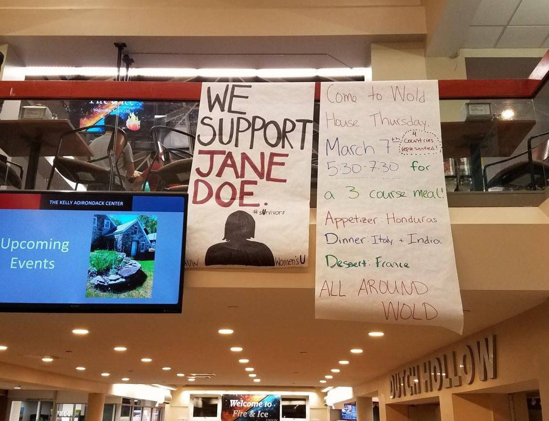 The Women's U and AAUW student organizations have hung posters in support of sexual assault survivors. Photos by Concordiensis.