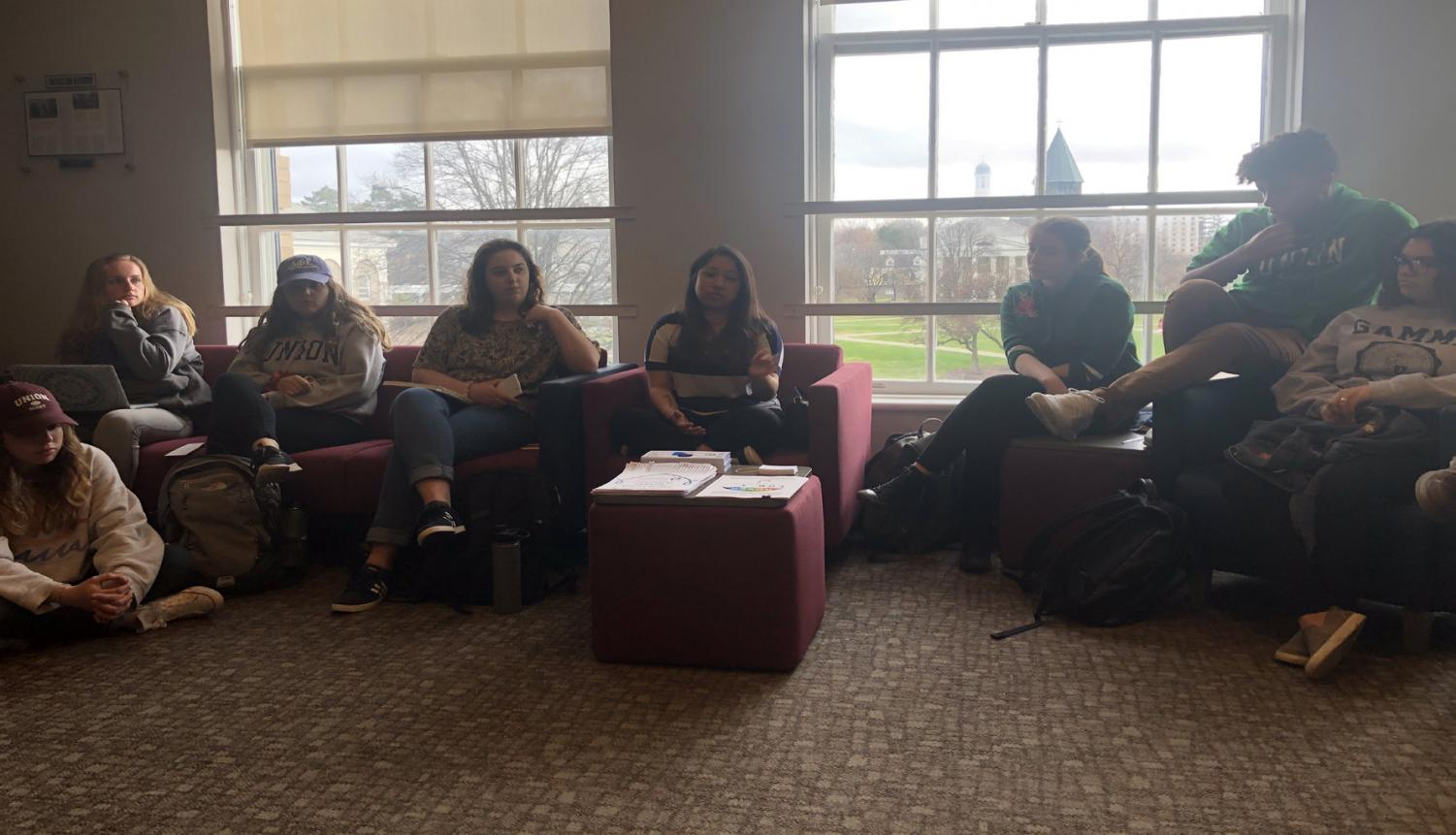 Group of students listening to Danielle Gonzalez speaking about Planned Parenthood services. Photo by Daniel Wilcox.
