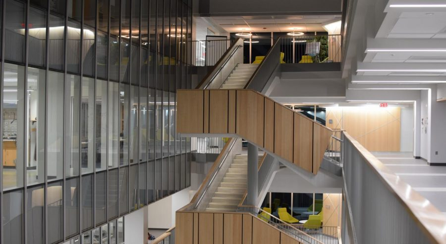 ISEC staircase in a completed section of the building. Photo by Daniel Wilcox.
