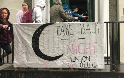 Students entering Hale House for the speak during Take Back the Night in 2019.