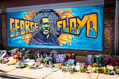 Graffiti mural honoring George Floyd from a Black Lives Matter protest in Minneapolis, MN.