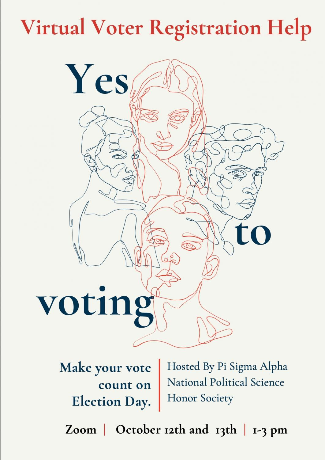 A poster showing a voter registration event hosted by Pi Sigma Alpha