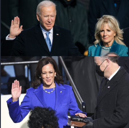 Top: Joe Biden sworn in as President of the United States; Bottom: Kamala Harris sworn in as Vice President of the United States