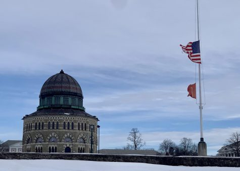 Union's American flag at half-staff for 500,000 COVID deaths.
